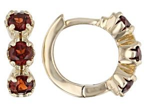 Red Garnet Child's 10k Yellow Gold Hoop Earrings .46ctw