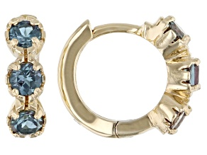 Blue Lab Created Alexandrite Children's 10k Yellow Gold Hoop Earrings .41ctw