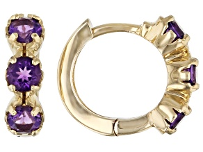 Purple African Amethyst Children's 10k Yellow Gold Hoop Earrings .41ctw