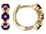 Purple African Amethyst Children's 10k Yellow Gold Hoop Earrings .41ctw