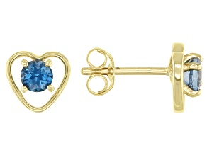 London Blue Topaz Child's 10k Yellow Gold Heart Stud Earrings .22ctw