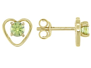 Green Peridot Child's 10k Yellow Gold Heart Stud Earrings .22ctw