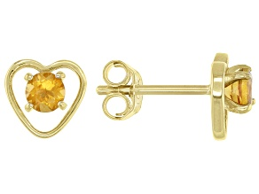 Golden Citrine Child's 10k Yellow Gold Heart Stud Earrings .20ctw