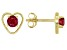 Red Mahaleo® Ruby Child's 10k Yellow Gold Heart Stud Earrings .22ctw
