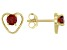 Red Garnet Child's 10k Yellow Gold Heart Stud Earrings .26ctw