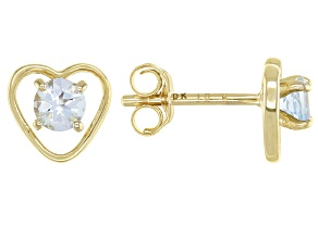Blue Aquamarine Child's 10k Yellow Gold Heart Stud Earrings .22ctw