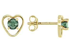 Teal Lab Created Alexandrite Child's 10k Yellow Gold Heart Stud Earrings .22ctw