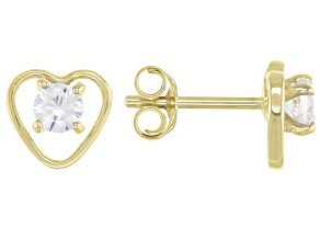 White Zircon 10k Yellow Gold Child's Heart Stud Earrings 0.29ctw