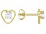 White Zircon Child's 10k Yellow Gold Heart Stud Earrings .29ctw