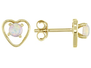 Multi Color Ethiopian Opal Child's 10k Yellow Gold Heart Stud Earrings .12ctw