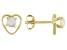 Multi Color Ethiopian Opal Child's 10k Yellow Gold Heart Stud Earrings .12ctw