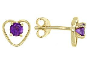 Purple African Amethyst Children's 10k Yellow Gold Heart Stud Earrings .20ctw