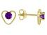 Purple African Amethyst Child's 10k Yellow Gold Heart Stud Earrings .20ctw