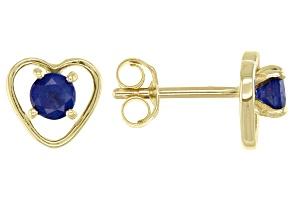 Blue Sapphire 10k Yellow Gold Child's Heart Stud Earrings 0.22ctw