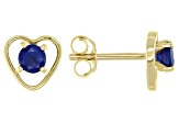 Blue Sapphire Child's 10k Yellow Gold Heart Stud Earrings .22ctw