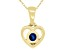 """London Blue Topaz 10k Yellow Gold Child's Heart Pendant With 12"""" Rope Chain .11ct"""