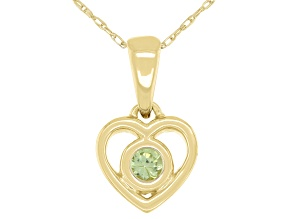Green Peridot 10k Yellow Gold Children's Heart Pendant With Chain .11ct