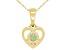Green Peridot 10k Yellow Gold Children's Heart Pendant With Chain .11ct