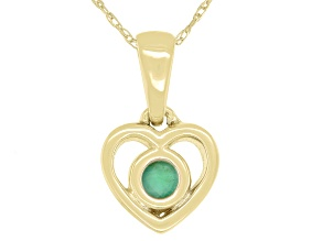 Green Sakota Emerald 10k Yellow Gold Child's Heart Pendant With Chain .10ct