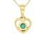 Green Sakota Emerald 10k Yellow Gold Children's Heart Pendant With Chain .10ct
