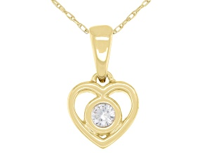 "White Zircon 10k Yellow Gold Children's Heart Pendant With 12"" Rope Chain .13ct"
