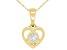 "White Zircon 10k Yellow Gold Children's Heart Pendant With 12"" Rope Chain .13ct"