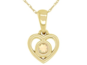 Multi Color Ethiopian Opal 10k Yellow Gold Child's Heart Pendant With 12