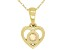 """Multi Color Ethiopian Opal 10k Yellow Gold Children's Heart Pendant With 12"""" Rope Chain .07ct"""