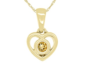 "Golden Citrine 10k Yellow Gold Children's Heart Pendant With 12"" Rope Chain .10ct"