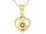 """Golden Citrine 10k Yellow Gold Children's Heart Pendant With 12"""" Rope Chain .10ct"""