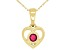 Red Mahaleo® Ruby 10k Yellow Gold Children's Heart Pendant With Chain .13ct