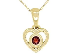 "Red Garnet 10k Yellow Gold Children's Heart Pendant With 12"" Rope Chain .13ct"