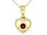 """Red Garnet 10k Yellow Gold Children's Heart Pendant With 12"""" Rope Chain .13ct"""