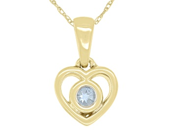 """Picture of Blue Aquamarine 10k Yellow Gold Children's Heart Pendant With 12"""" Rope Chain .11ct"""