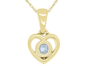 "Blue Aquamarine 10k Yellow Gold Children's Heart Pendant With 12"" Rope Chain .11ct"
