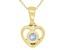 "Blue Aquamarine 10k Yellow Gold Children's Heart Pendant With 12"" Rope Chain .11ct"
