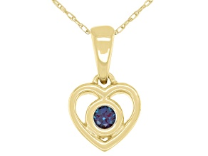 "Teal Lab Created Alexandrite 10k Yellow Gold Children's Heart Pendant With 12"" Rope Chain .10ct"