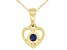 """Teal Lab Created Alexandrite 10k Yellow Gold Children's Heart Pendant With 12"""" Rope Chain .10ct"""
