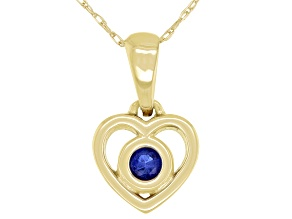 "Blue Sapphire 10k Yellow Gold Children's Heart Pendant With 12"" Rope Chain .10ct"