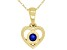 """Blue Sapphire 10k Yellow Gold Children's Heart Pendant With 12"""" Rope Chain .10ct"""