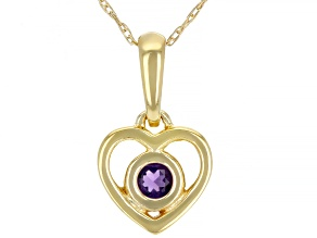 "Purple African Amethyst 10k Yellow Gold Children's Heart Pendant With 12"" Rope Chain .10ct"