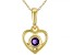 """Purple African Amethyst 10k Yellow Gold Children's Heart Pendant With 12"""" Rope Chain .10ct"""