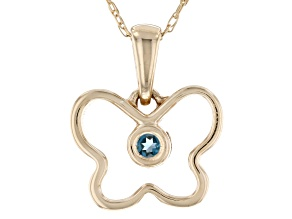 London Blue Topaz 10k Yellow Gold Child's Butterfly Pendant With Chain .03ct