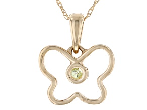 Green Peridot 10k Yellow Gold Child's Butterfly Pendant With Chain .09ct