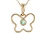 Green Sakota Emerald 10k Yellow Gold Child's Butterfly Pendant With Chain .05ct
