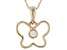 White Zircon 10k Yellow Gold Child's Butterfly Pendant With Chain .06ct