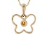 Golden Citrine 10k Yellow Gold Child's Butterfly Pendant With Chain .03ct