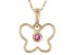 Red Mahaleo® Ruby 10k Yellow Gold Children's Butterfly Pendant With Chain .04ct