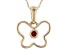 Red Garnet 10k Yellow Gold Child's Butterfly Pendant With Chain .04ct