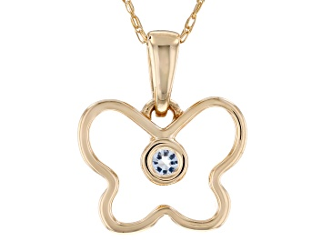 Picture of Blue Aquamarine 10k Yellow Gold Children's Butterfly Pendant With Chain .03ct